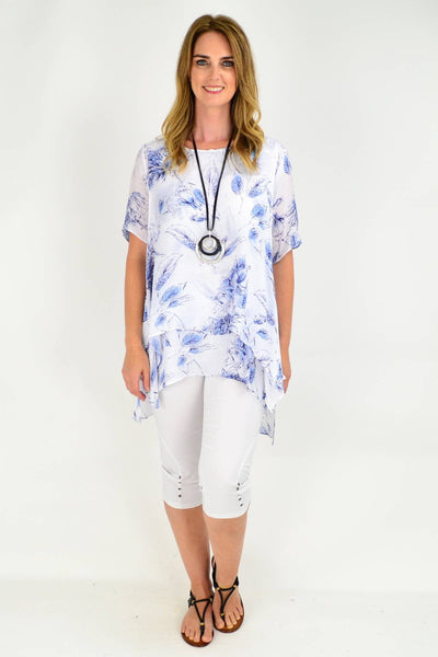 Blue Flower Relaxed Fit Tunic Blouse
