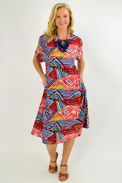 Red Multicolour Shift Tunic Dress - I Love Tunics