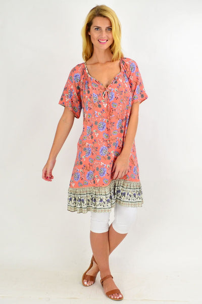 Pink Paisley Flowy Tunic Dress