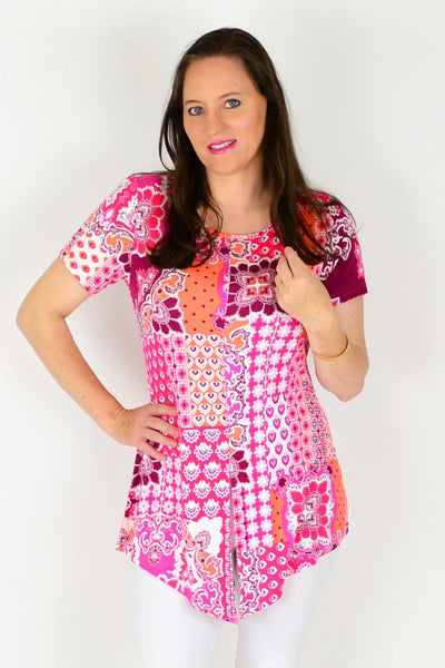 Pink Mosaic Tunic Top - at I Love Tunics @ www.ilovetunics.com = Number One! Tunics Destination