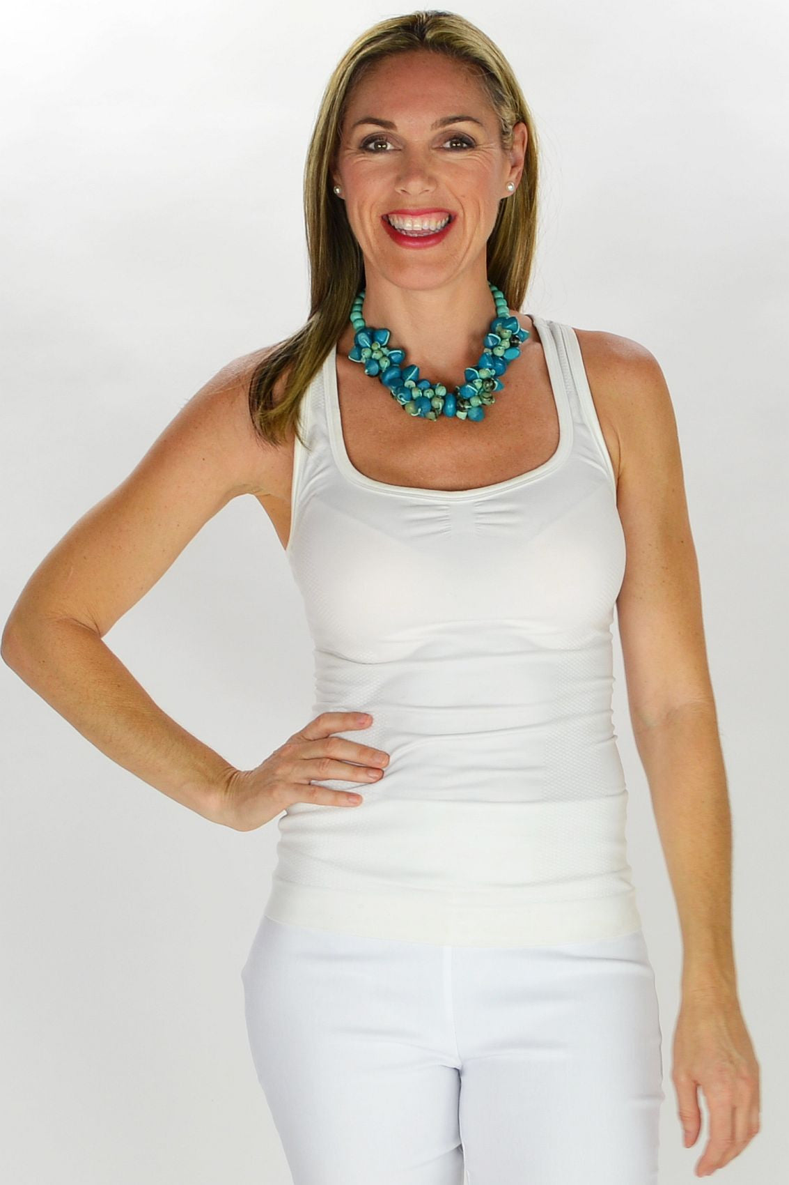 Short Aqua Beads Necklace - at I Love Tunics @ www.ilovetunics.com = Number One! Tunics Destination