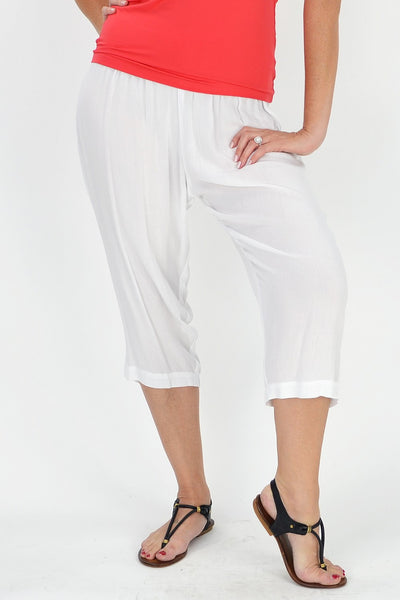 Relaxed White Rayon Pants