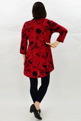 Red Cherry Blossom Tunic Top