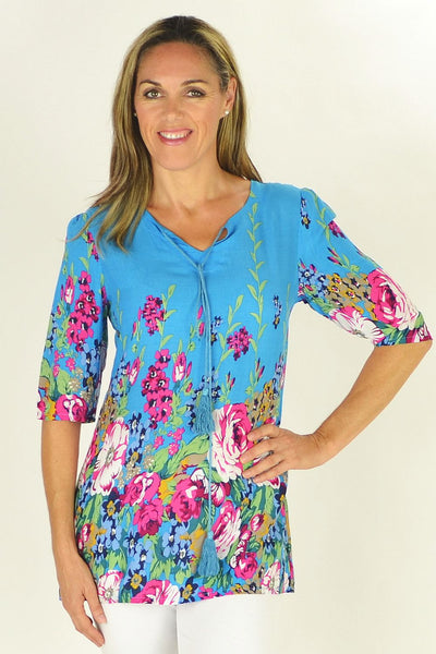 Blue Flowers in the Meadow Tunic - at I Love Tunics @ www.ilovetunics.com = Number One! Tunics Destination