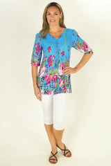 Blue Flowers in the Meadow Tunic | I Love Tunics | Tunic Tops | Tunic Dresses | Women's Tops | Plus Size Australia | Mature Fashion