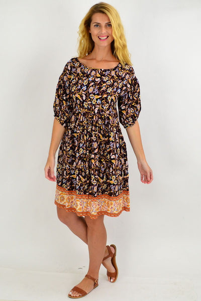 Floral Puff Sleeve Tunic Dress