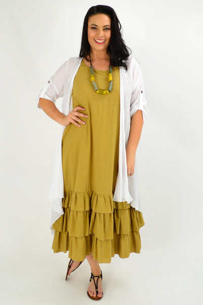 Mustard Ruffle Layer Tunic Maxi Dress | I Love Tunics | Tunic Tops | Tunic | Tunic Dresses  | womens clothing online
