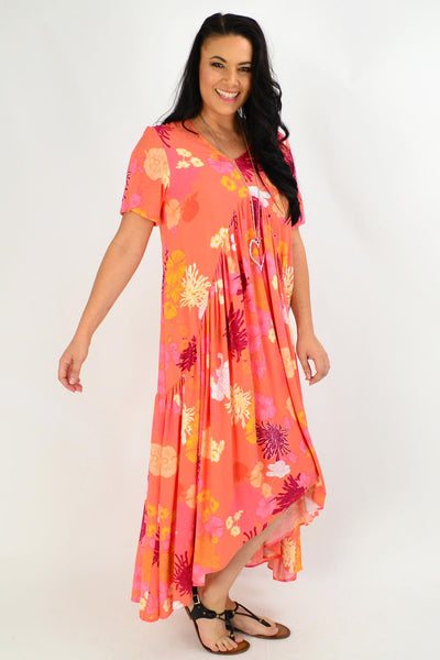 Apricot Floral Maxi Tunic Dress | I Love Tunics | Tunic Tops | Tunic | Tunic Dresses  | womens clothing online