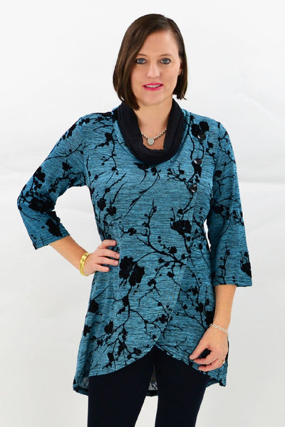 Turquoise Cherry Blossom Tunic
