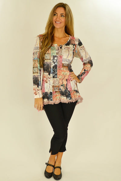 Cafe Latte Country Flower Tunic