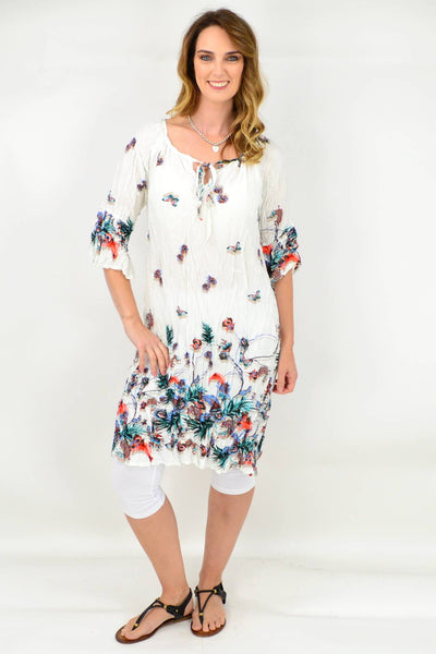 White Butterfly Flower Crinkle Tie Tunic Dress