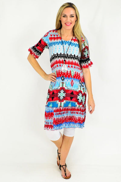 Peruvian Loom Crinkle Tunic Dress