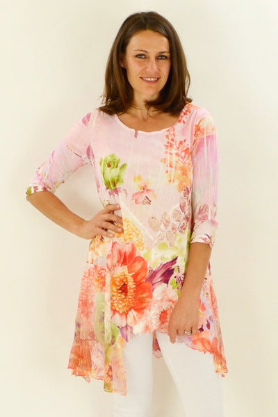 Pink Garden Tunic - at I Love Tunics @ www.ilovetunics.com = Number One! Tunics Destination