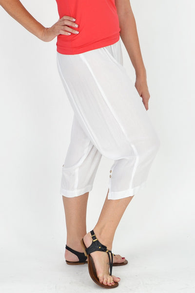Relaxed White Rayon Pants | I Love Tunics | Tunic Tops | Tunic Dresses | Women's Tops | Plus Size Australia | Mature Fashion