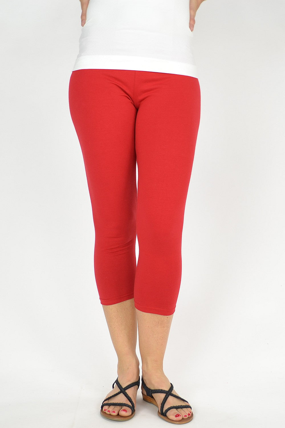 Red Cotton 3/4 leggings - at I Love Tunics @ www.ilovetunics.com = Number One! Tunics Destination