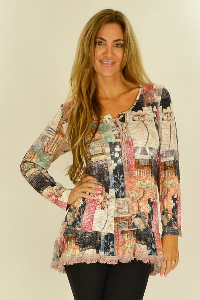 Cafe Latte Country Flower Tunic - at I Love Tunics @ www.ilovetunics.com = Number One! Tunics Destination