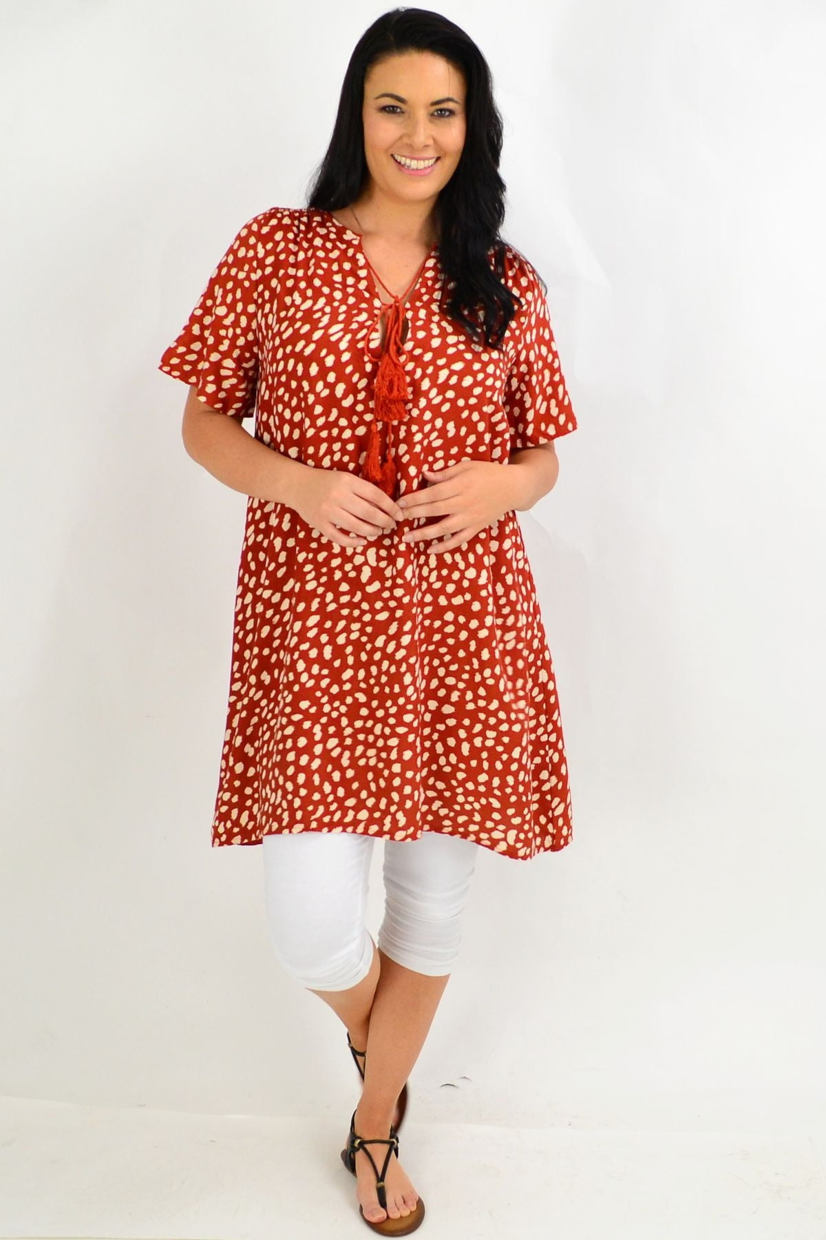 Brown Spot Tie Up Neck Tunic Dress | I Love Tunics | Tunic Tops | Tunic | Tunic Dresses  | womens clothing online