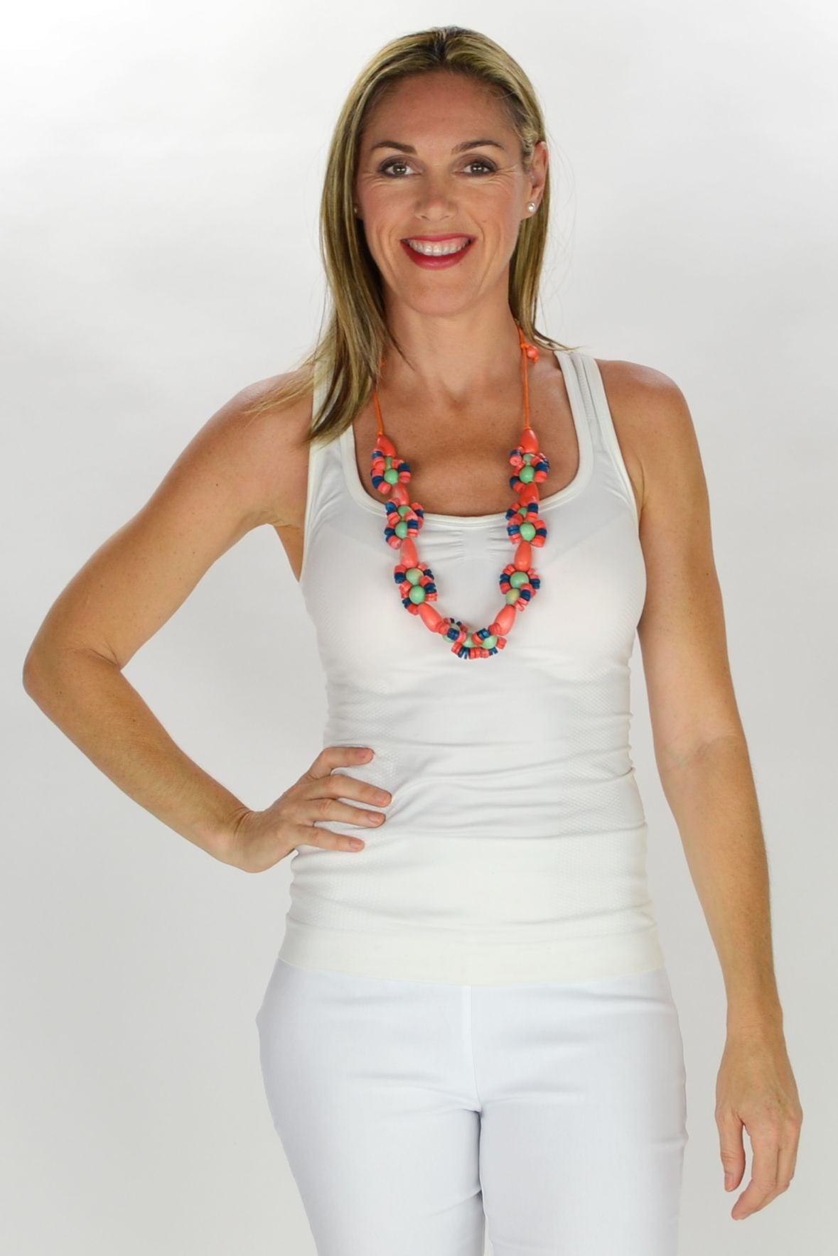 Coral Green Round Beads Necklace | I Love Tunics | Tunic Tops | Tunic | Tunic Dresses  | womens clothing online