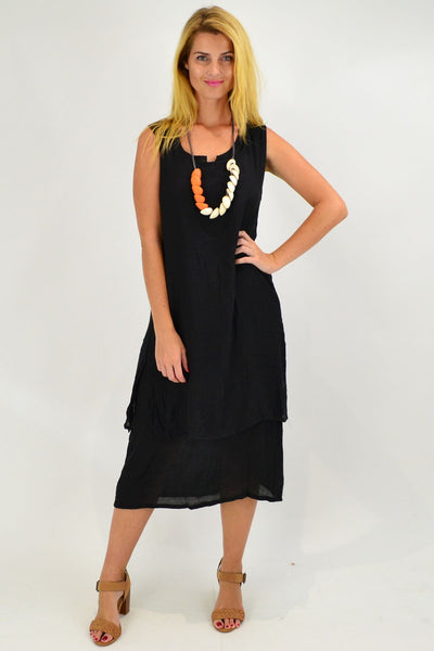 Black V Sleeveless Layered Tunic Dress