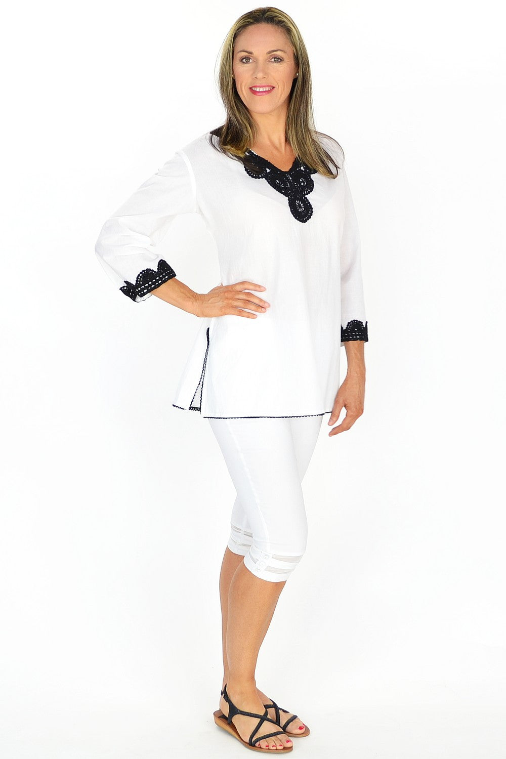 White Gaby Tunic - at I Love Tunics @ www.ilovetunics.com = Number One! Tunics Destination