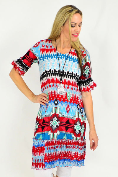 Peruvian Loom Crinkle Tunic Dress | I Love Tunics | Tunic Tops | Tunic | Tunic Dresses  | womens clothing online