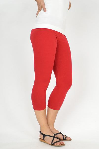 Red Cotton 3/4 leggings