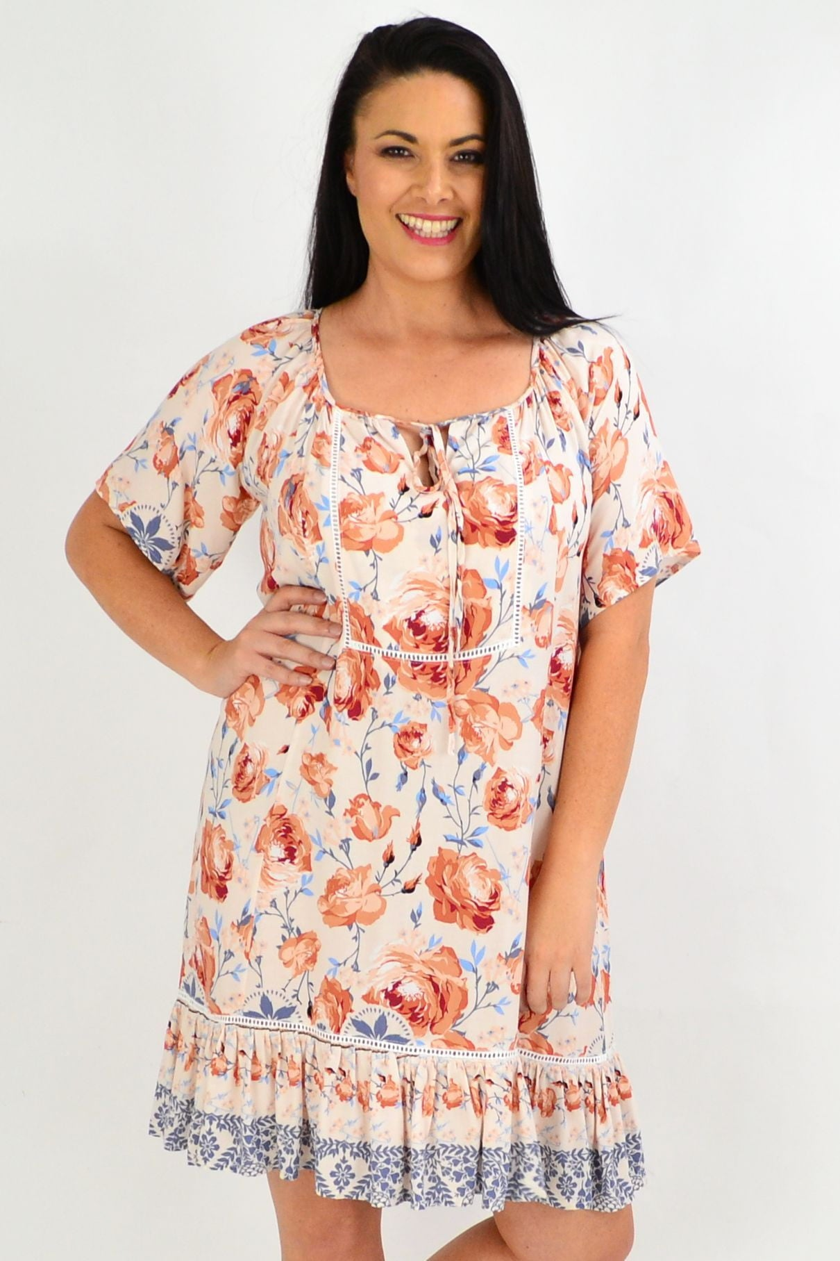 Cream Rose Flowy Tunic Top