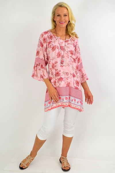 Soft Pink Check Floral Light & Pretty Tunic Top