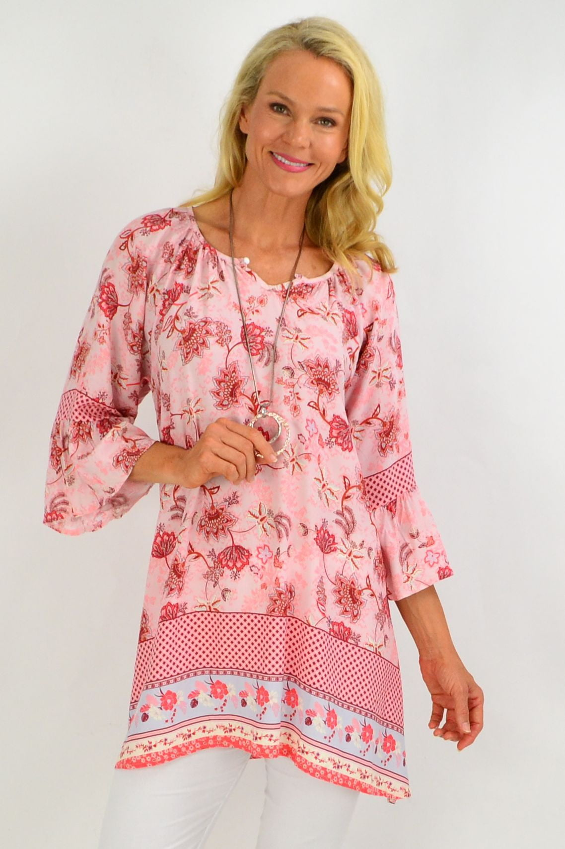 Soft Pink Check Floral Light & Pretty Tunic Top | I Love Tunics | Tunic Tops | Tunic | Tunic Dresses  | womens clothing online