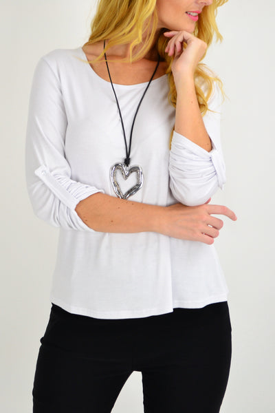 White Button Up Long Sleeve Basic Top - I Love Tunics