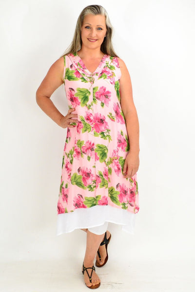 Summer Garden Pink Tunic Dress