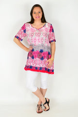Phoebe Flower Tunic Top - at I Love Tunics @ www.ilovetunics.com = Number One! Tunics Destination