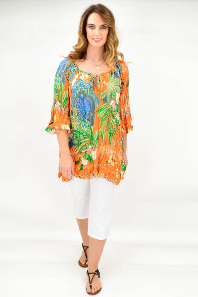 Paisley Crinkle Tie Tunic Blouse
