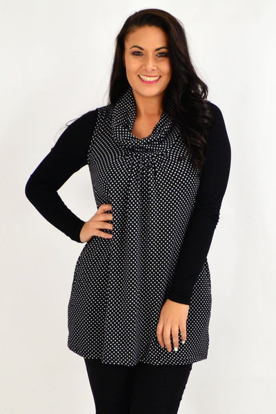 Spot Cowl Neck Sleeveless Tunic Top | I Love Tunics | Tunic Tops | Tunic | Tunic Dresses  | womens clothing online
