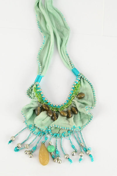 Fabric Aqua Beads Necklace