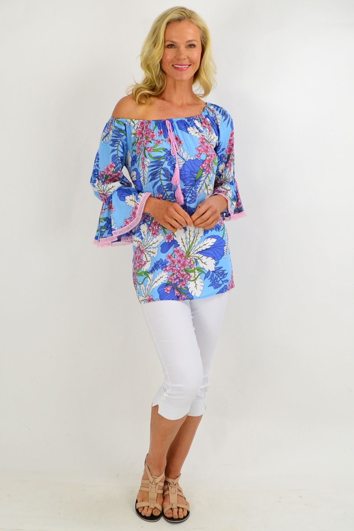 Sky Blue Tropical Tassel Off shoulder Tunic Top | I Love Tunics | Tunic Tops | Tunic | Tunic Dresses  | womens clothing online