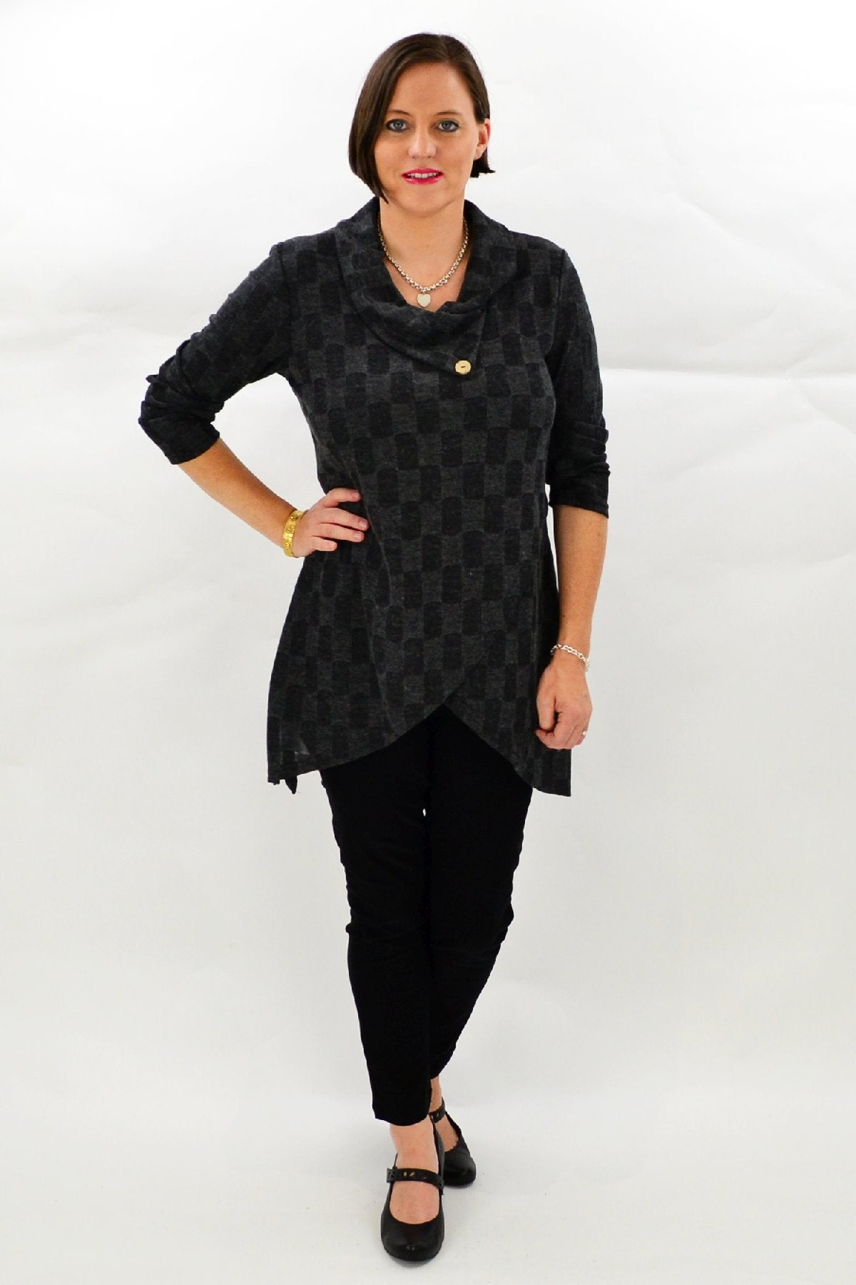 Charcoal Check Tunic | I Love Tunics | Tunic Tops | Tunic Dresses | Women's Tops | Plus Size Australia | Mature Fashion