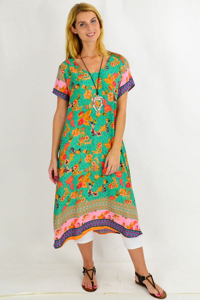 Long Green Pink Floral Tunic Dress