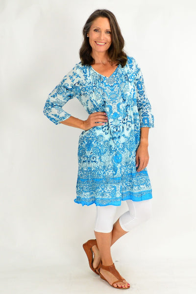 Sky Blue Victorian Print Tunic Dress