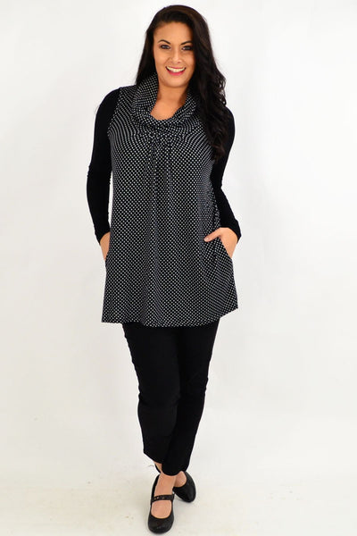Spot Cowl Neck Sleeveless Tunic Top