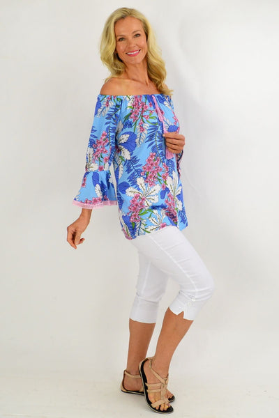 Sky Blue Tropical Tassel Off shoulder Tunic Top