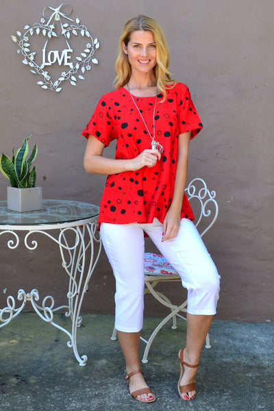 Red Black Spot Tunic Top | I Love Tunics | Tunic Tops | Tunic | Tunic Dresses  | womens clothing online