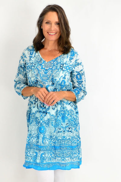 Sky Blue Victorian Print Tunic Dress | I Love Tunics | Tunic Tops | Tunic | Tunic Dresses  | womens clothing online