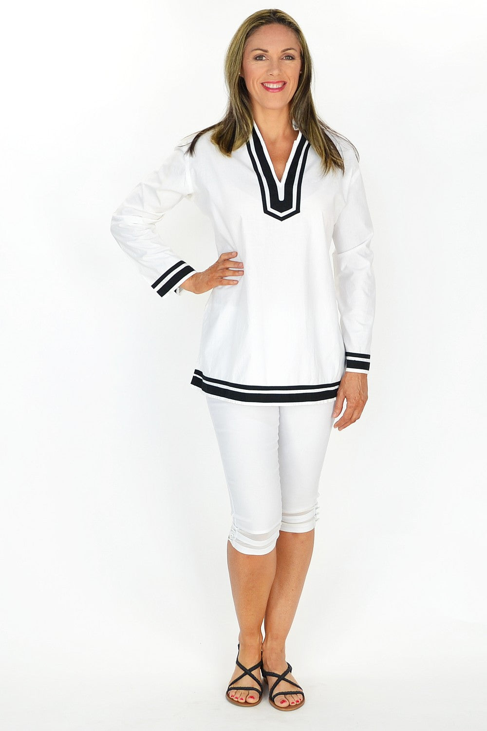 White Sailor Tunic - at I Love Tunics @ www.ilovetunics.com = Number One! Tunics Destination