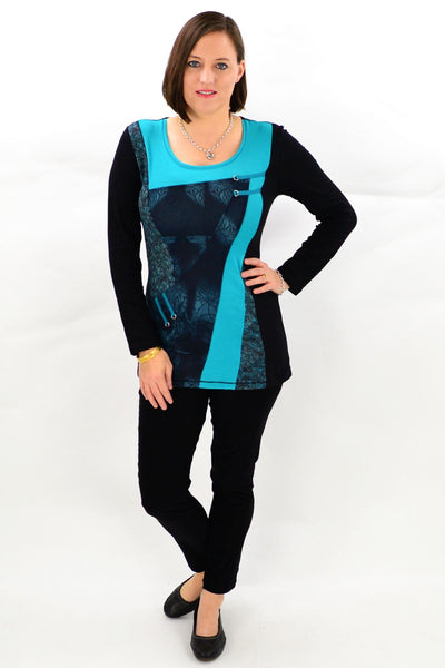 Aqua Avery Winter Tunic Top
