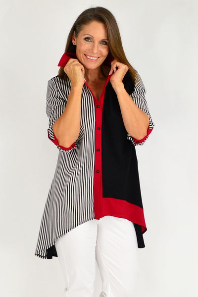 Rita Black White Stripe Tunic Shirt