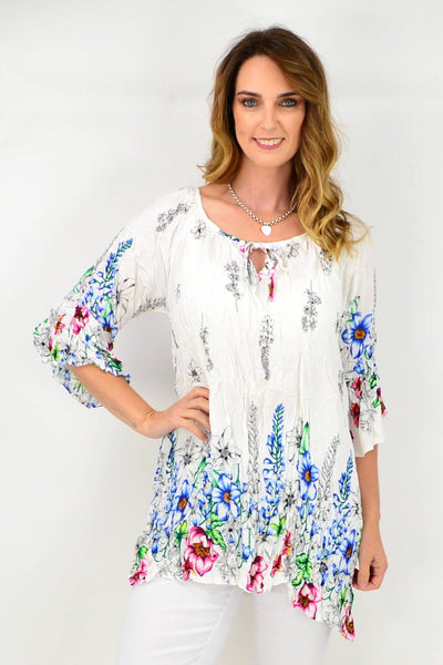 White Cottage Garden Crinkle Tie Tunic Blouse | I Love Tunics | Tunic Tops | Tunic | Tunic Dresses  | womens clothing online
