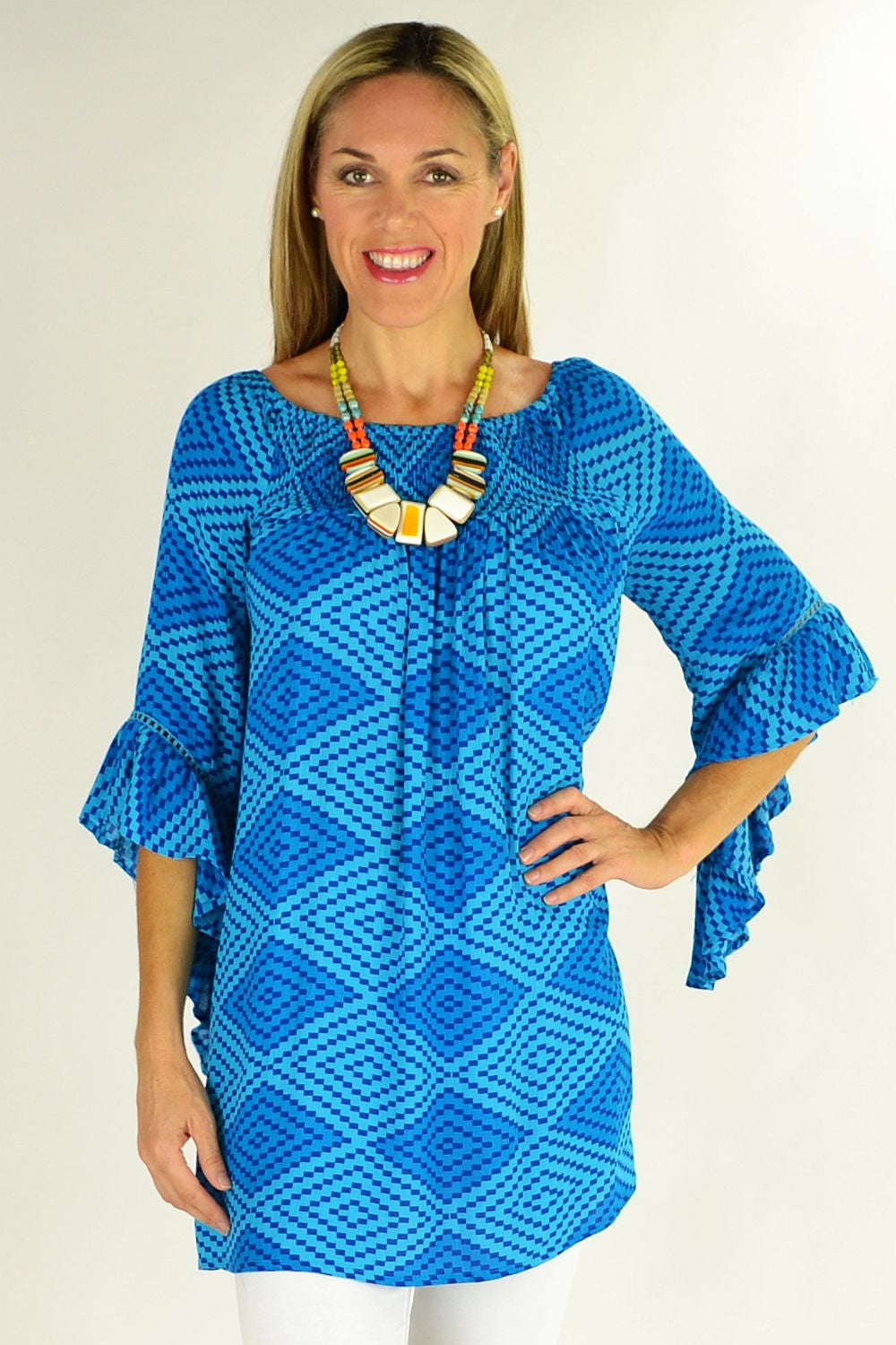 Blue Diamond Tunic | I Love Tunics | Tunic Tops | Tunic Dresses | Women's Tops | Plus Size Australia | Mature Fashion