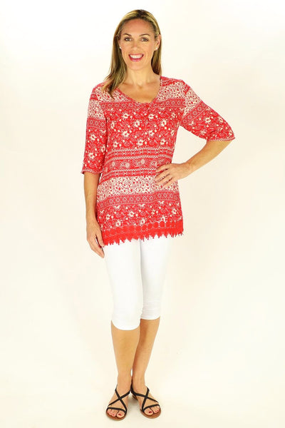Red Selina Tunic