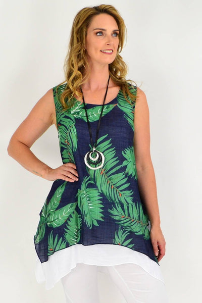 Green Tropical Print Beach Cotton A line Tunic